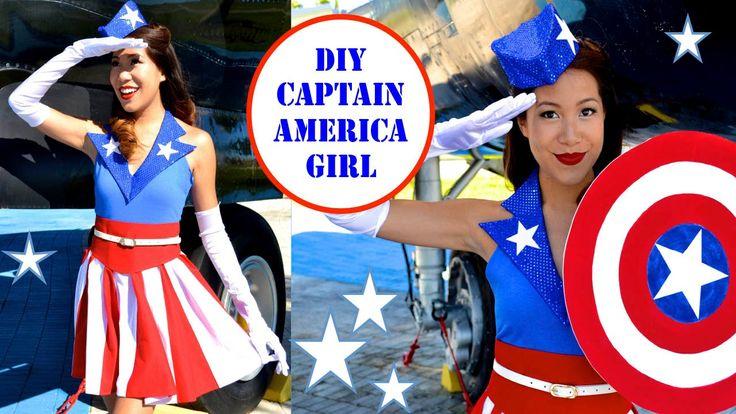DIY Captain America Costume/ USO GIRL! Perfect for a couples costume! Youtube: Mey Lynn #costume #captainamerica #DIY