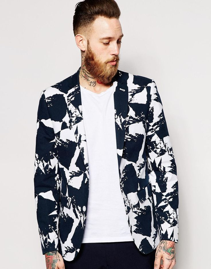 ASOS WHITE Slim Fit Blazer In Print Co-Ord