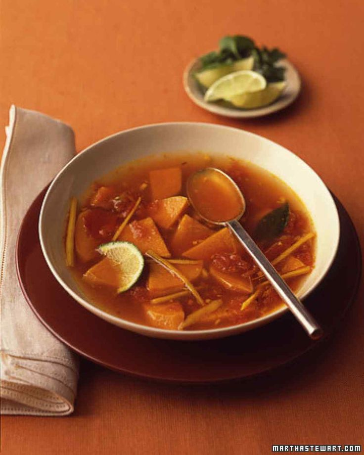 Spicy Sweet Potato Soup--great for a cold. I cut the sweet potatoes into smaller cubes. I also grate the ginger. I like more tomatoes as well.