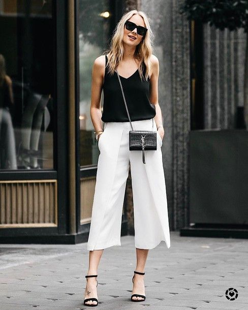 38e9ee2a4a3 pants tumblr white pants cropped pants culottes white culottes sandals  sandal heels high heel sandals top black top bag black bag sunglasses