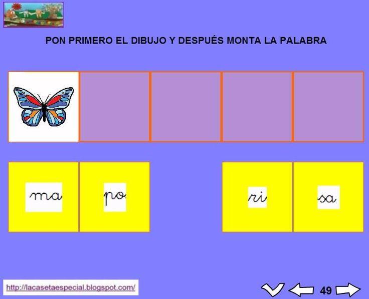 MATERIALES - Juegos LIM de lectoescritura: m  Se trata de juegos hechos con el editor de actividades EdiLim para trabajar la lectoescritura de manera divertida. Cada juego trabaja una letra y encontraremos actividades como: unir imagen con palabra, juego de memoria, ordenar sílabas y ordenar palabras para formar frases.  Descomprimid la carpeta JOC_EDILIM_M.zip y pulsad dos veces sobre el archivo repasamos_la_m.html.  http://arasaac.org/materiales.php?id_material=1199