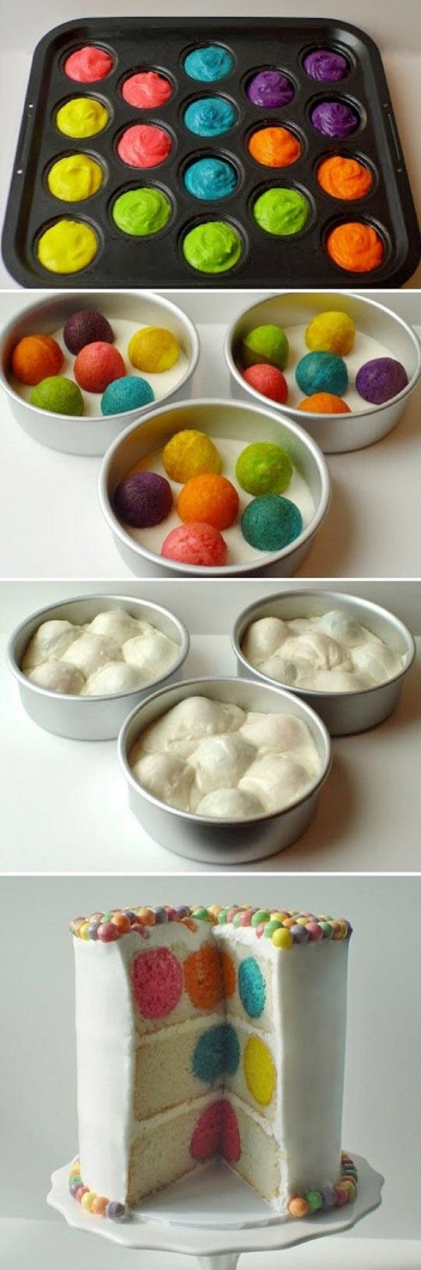 Inspirational dishes | funny to make By kbarinkvanzuidam dutch site ... pictoral on how to make ... the polka dots are balls colored first and then baked inside the cake at the same time