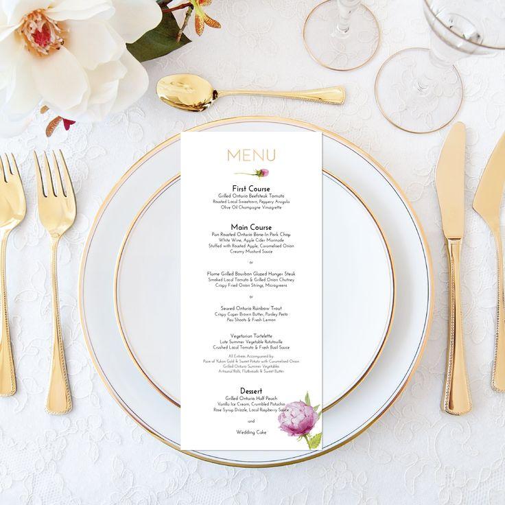 Printable Wedding Menu Personalized Watercolor Floral Wedding Menu Elegant Wedding Set Printable Wedding Stationery Printable Faux Gold Foil by OnionSisterCreative on Etsy