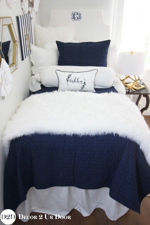 Beau Navy U0026 White Fur Designer Dorm Bedding Set