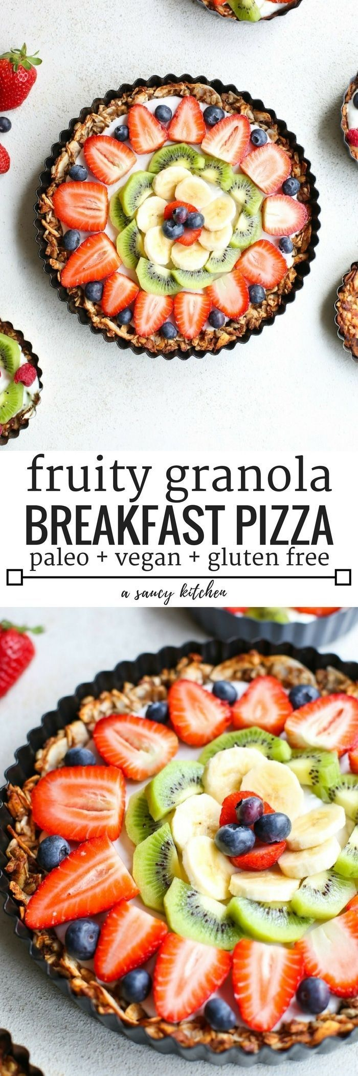 Fruity Granola Breakfast Pizza - a grain free nut & coconut crust that's naturally sweetened with a coconut cream top and fresh fruit | Paleo & Vegan