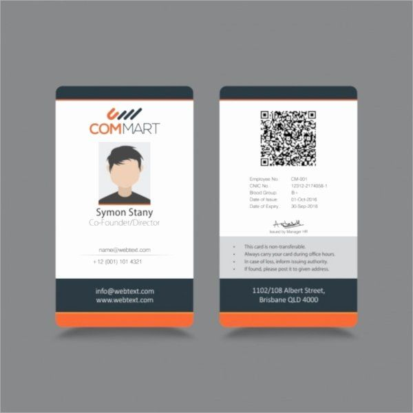 Employee Id Card Template Free Download Awesome 21 Id Cards Employee Id Card Id Card Template Professional Business Card Design