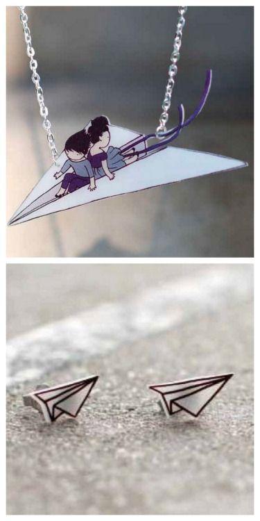 Shrink Plastic paper plane jewelry