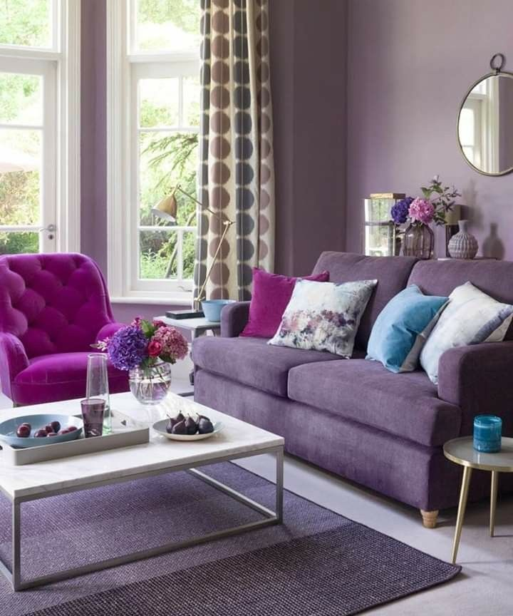 Pin By Salma On Wall Color Purple Living Room Living Room Color