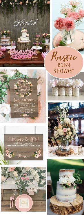 Rustic baby shower with vintage wood, coral and pink flowers and fall colors. Featuring decoration ideas, invitation, party printable and table decoration!