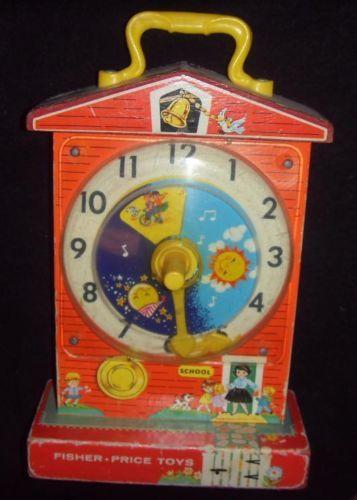 Ancienne Horloge Enfant Jouet Fisher Price Boite À Musique Vintage Music BOX