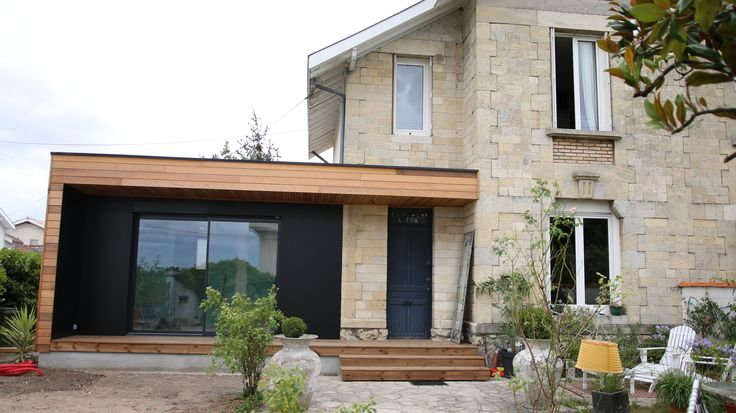 Extension de maison bordeaux ossature bois red cedar for Extension de maison de 40m2