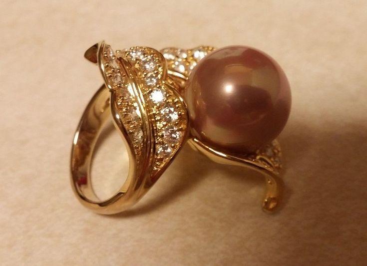Exquisite 12-13mm Faux Pearl & Clear CZ Vermeil Leaf Wrap Ring - Sz 7- Shop NBC #Unbranded