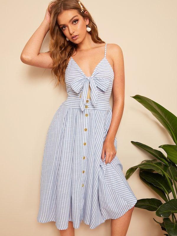 94a35585a3 Bow Tie Button Through Peekaboo Striped Cami Dress   SHEIN   Closet ...