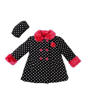 Look what I found on #zulily! Black Polka Dot Swing Coat & Beret - Toddler by Penelope Mack #zulilyfinds
