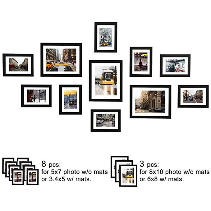Amazon Com Wood Meets Color 11 Pcs Picture Frames Set Wall Gallery Collage Frames With Family Picture Frame Wall Gallery Wall Picture Frames Frames On Wall