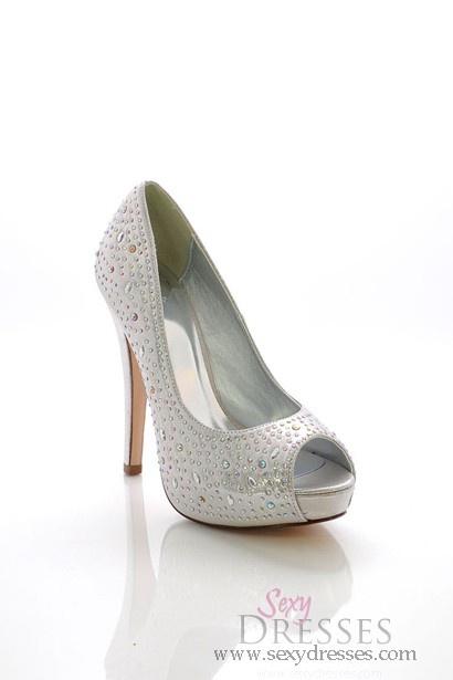 Peep Toe Heels Silver