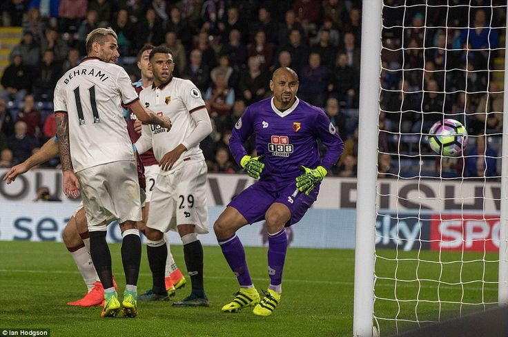 Watford goalkeeper Heurelho Gomes can only watch on as Hendrick's well-placed header finds the corner of the net