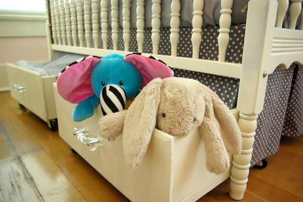 Cheap and cute under the bed or crib storage. I love this!