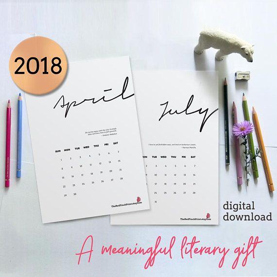 #literary #calendar  Bookworm gift Literary quote calendar 2018 printable bookish