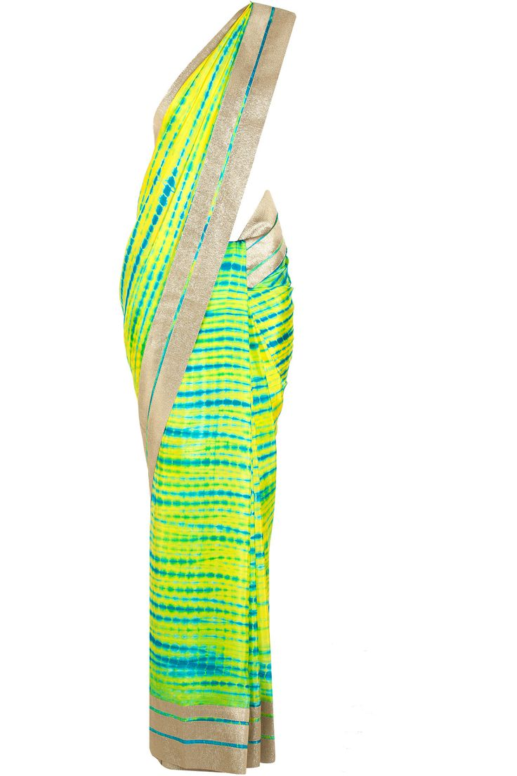 MANDIRA BEDI Green and turquoise tie and dye sari available only at Pernia's Pop-Up Shop.