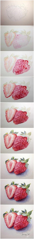 【绘画教程】 蔬果类示范汇总,by  。老师示范的这么好,想知道同学们画的怎么样吗?先去吃水果解眼馋,下周公布  草莓画法