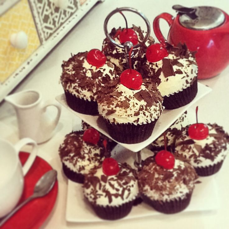 Black Forest cupcake with cherry jam centre.
