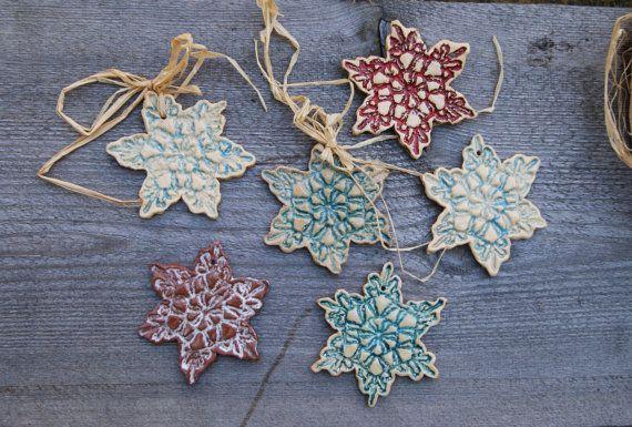 Set ceramic Xmas Decoration, christmas wall hanging, Xmas Ornaments , Christmas stars, Christmas lace, Christmas snowflake, Ceramic lace