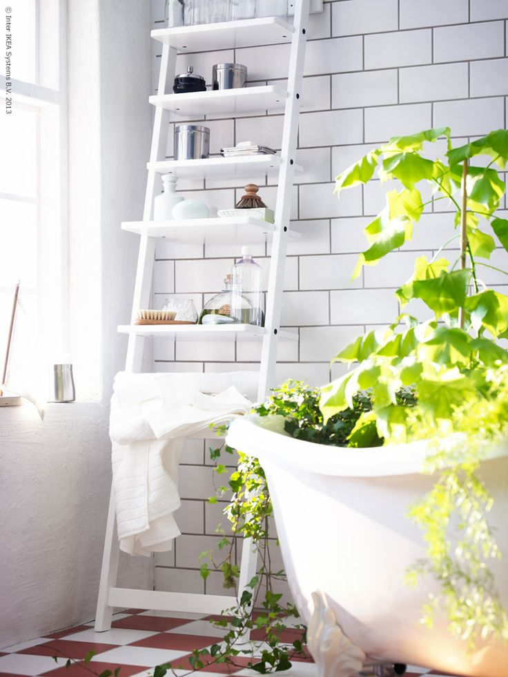 Amusing Ladder Wall Shelf Design Inspirations  Admirable White Modern Ladder  Shelf Design Ideas Come With White Stained Ladder Shelf Finish And White. 17 Best images about IKEA BATHROOM ORGANIZATION on Pinterest