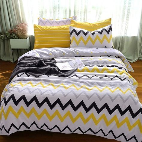 Kids Yellow Black White And Grey Zigzag Chevron Stripe Print