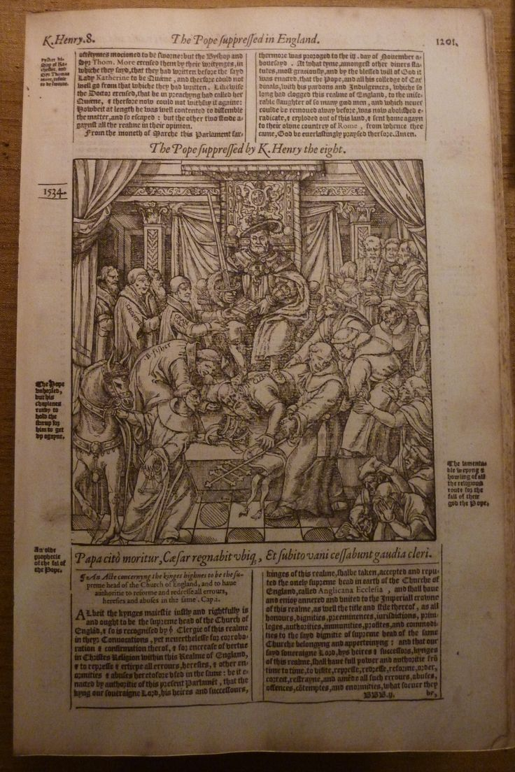 """from John Foxe's Book of Martyrs, an image of Henry VIII """"suppressing the pope."""""""