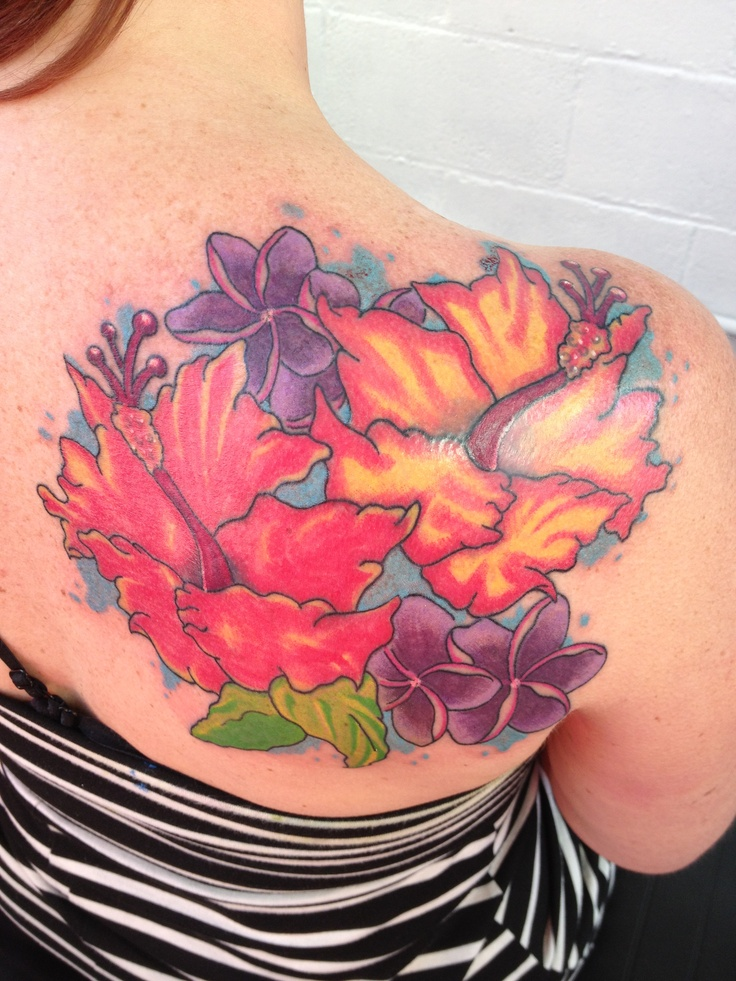 Side Hawaiian Flower Tattoos: Hibiscus Flowers On The Shoulder. #hawaiian Flower Tattoo