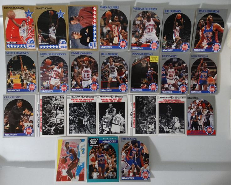 1990-91 Hoops Pistons Team Set Of 24 Basketball Cards (Missing #3 Joe Dumars)  #DetroitPistons
