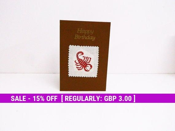Scorpio Zodiac Card, Birthday Card, Celebration cards, Embroidery card, embroidered cards, Astrology Card, star signs, October November card