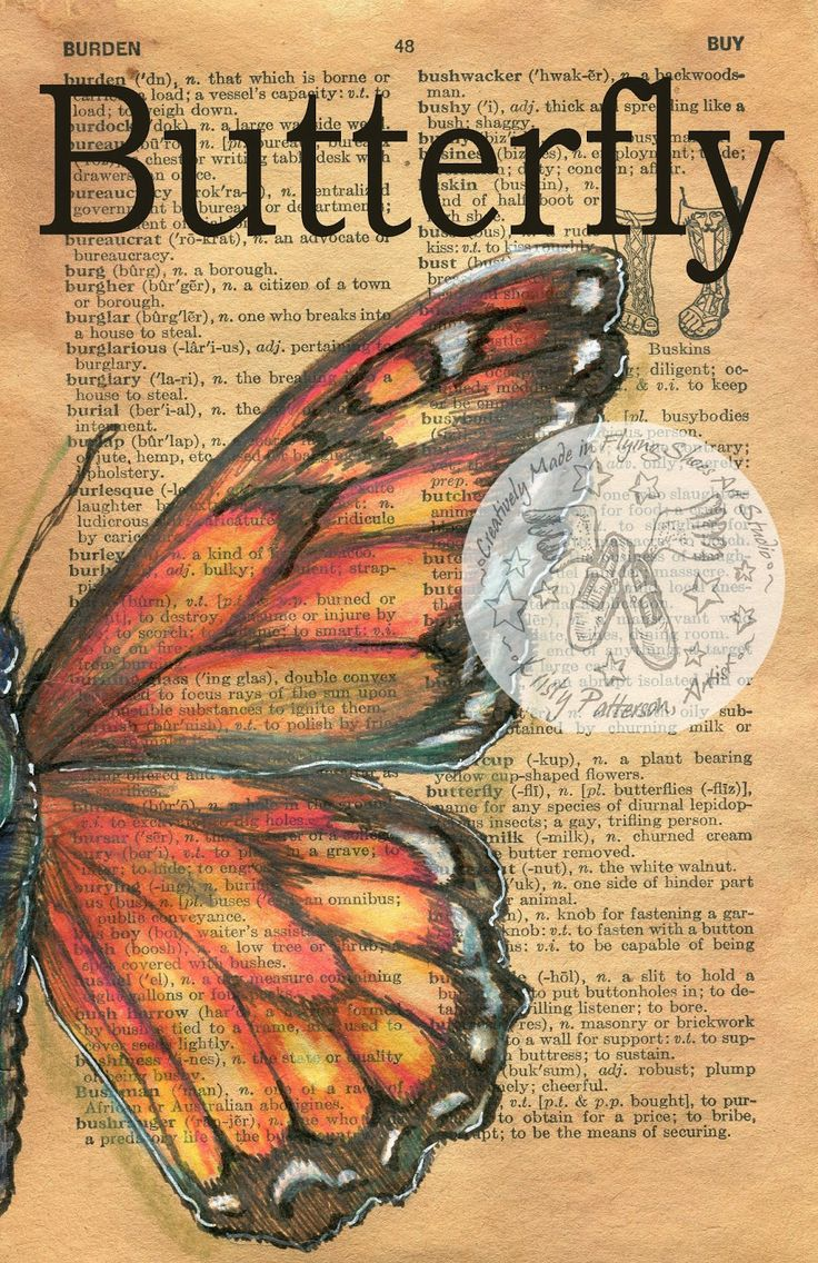 Butterfly mixed media drawing on 1948 dictionary page - flying shoes art studio