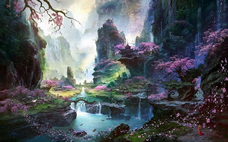 nature fantasy art | landscapes nature cherry blossoms leaves fantasy art artwork flower ...