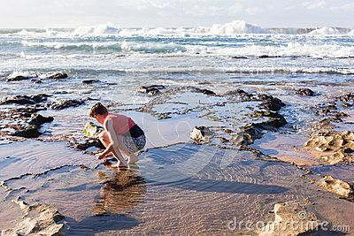 Teen girl unidentified exploring nature marine life rock pools and reefs