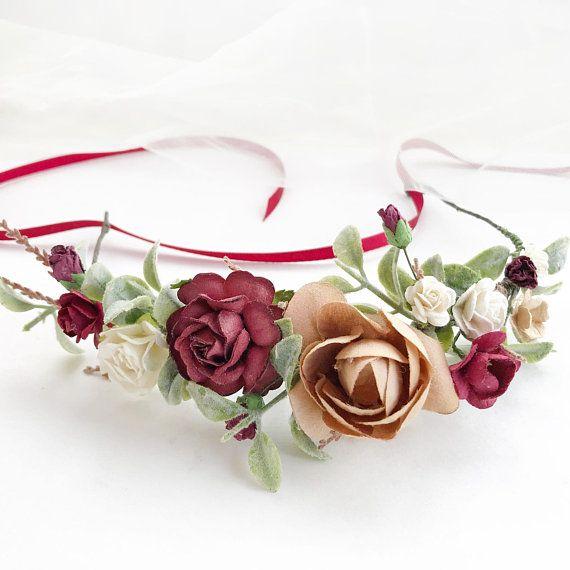 Beige Burgundy Flower crown Fall beige burgundy flower crown Beige burgundy headpiece Fall beige burgundy wedding crown Burgundy headpiece