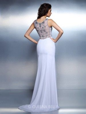 Trumpet/Mermaid Bateau Sleeveless Beading Floor-Length Chiffon Dresses - Evening Dresses - Occasion Dresses - QueenaBelle.com