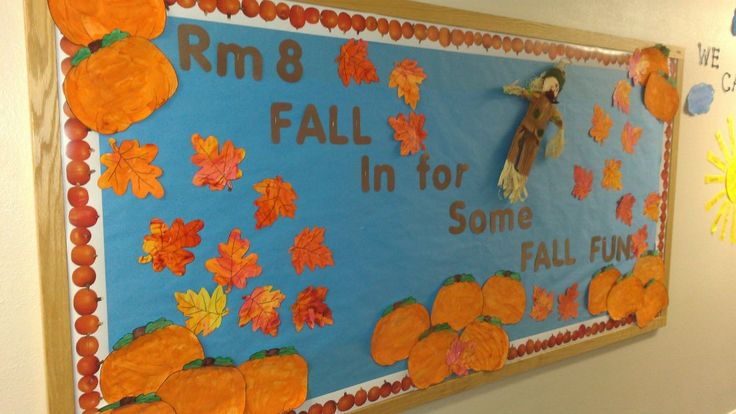 """Fall in For Some Fall Fun"" is nice title for an autumn bulletin board display.  I think for this idea, I'd have my students write F.A.L.L. acrostic poems inside leaf templates and have them color their leaves in brown, orange, yellow, and red colors."