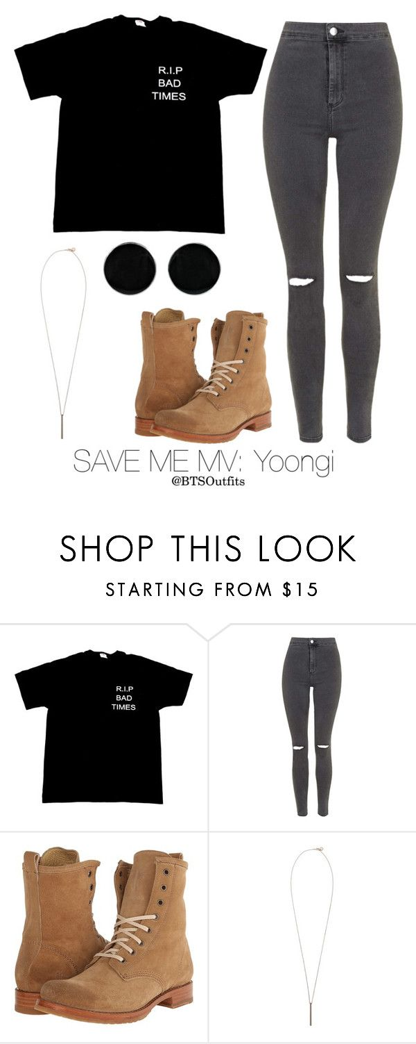 """""""Save Me MV: Yoongi"""" by btsoutfits ❤ liked on Polyvore featuring Topshop, Frye, French Connection and AeraVida"""