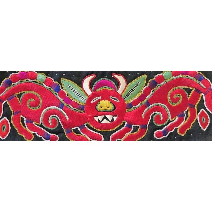 Shidong Miao vintage embroidery of bat | Chinese Textiles | Fabric of Life Handmade Textiles, Cards & Conservation