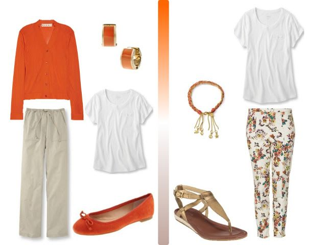 The Vivienne Files: A Simple Brown and Beige summer wardrobe, with orange accessories