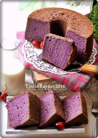 CHIFFON CAKE TARO  aka Ubi Ungu Super Soft Moist Fluffy                                                                                                                                                                                 More