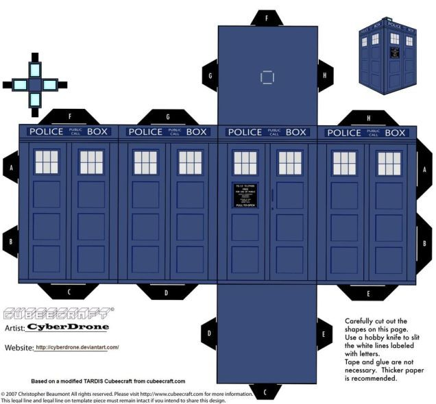 """Print out and fold your own paper TARDIS and Daleks. """"Deviantart user CyberDrone has created a ton of Doctor Who Cubeecraft art. Print out a TARDIS, some Daleks, and a few Cybermen to watch the refreshment table at your next Who viewing party."""""""