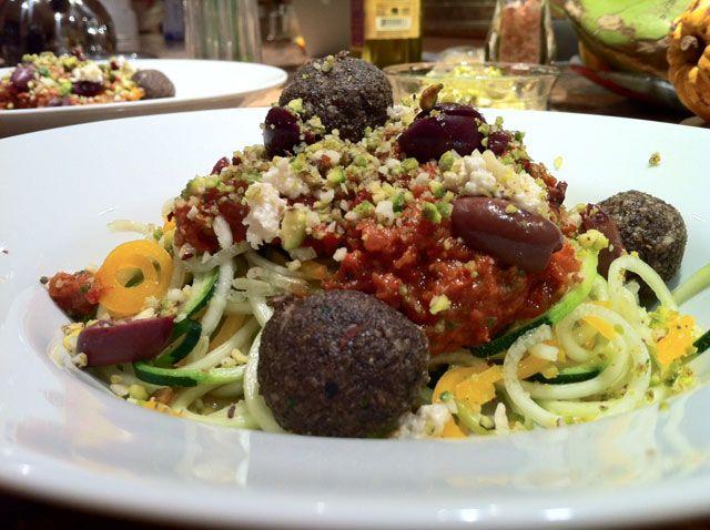 Raw Vegan Mediterranean Pasta with Fresh Olives Brazil Nut Pistachio Parmesan