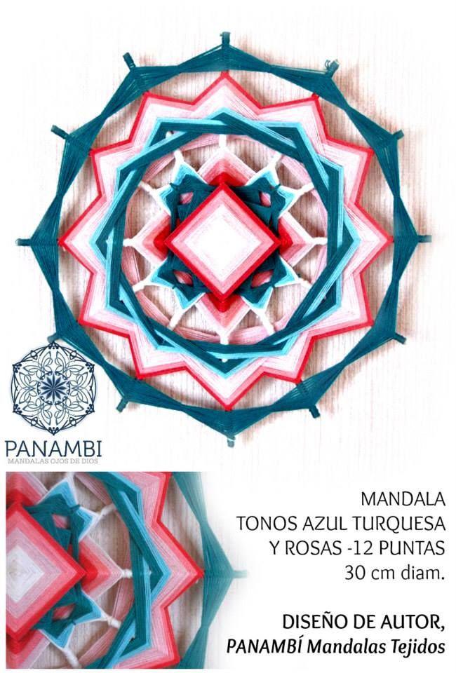 MANDALA TONOS AZUL TURQUESA Y ROSAS -  12 PUNTAS - 30 cm de diámetro aprox - confeccionado a base de madera e hilo. DISEÑO DE AUTOR - PANAMBÍ  + INFO: www.facebook.com/...  MANDALAS  MANDALAS TEJIDOS  OJOS DE DIOS  SIKULI