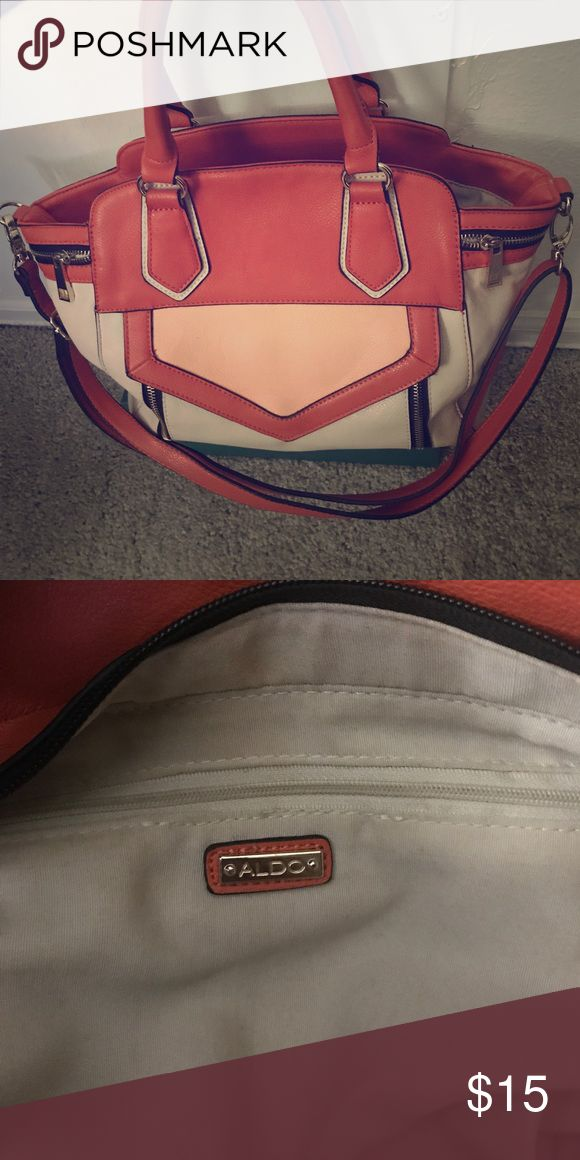 Aldo Purse Cleaning out my closet and just wanted to get rid of stuff that I've had for a while. Orange salmon and tan Aldo purse in good condition! Aldo Bags Shoulder Bags