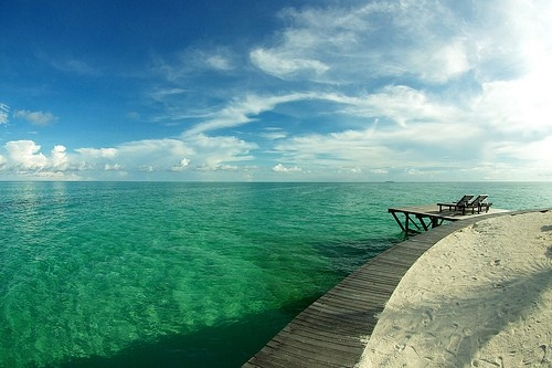 Kapalai Island, Sabah, Malaysia-how peaceful it would be to sit in those chairs!