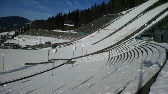 Stadium seating East of the ski jumps at Olympia Parken. Lillehammer Norway