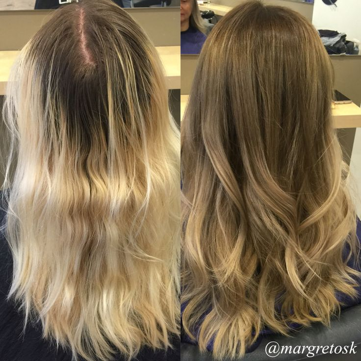 Before and after coloring. From really blonde ends with really dark grown out roots to a light brown/ dark blonde color with balayage